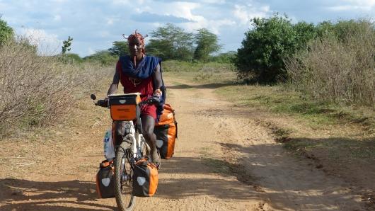 nach etwas Übung konnte Koma Dagmars Fahrrad alleine fahren