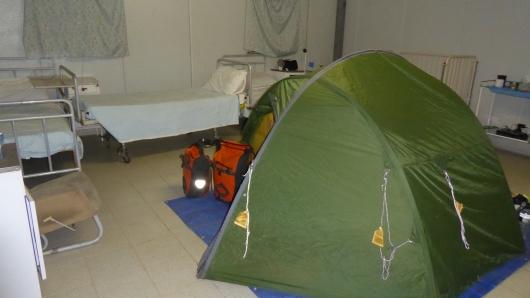 Unser Camp in einem Krankenhaus